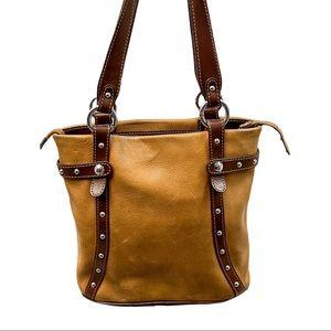 Bosca Tan Brown Leather Zip Up Shoulder Purse